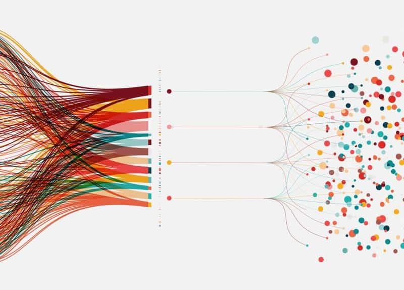 Datastrøm som blir om til sirkler