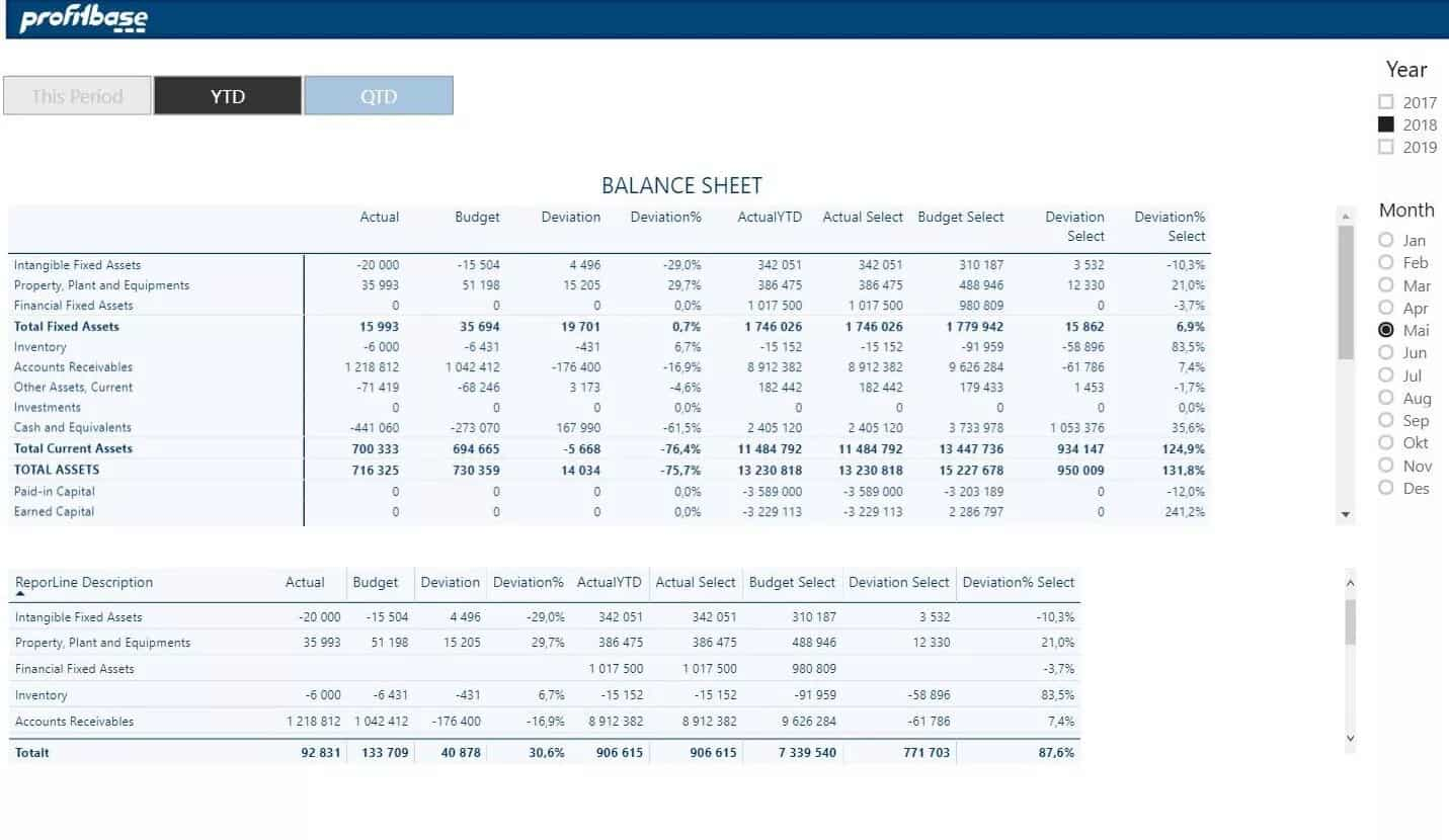 Profitbase report example showing balance sheet