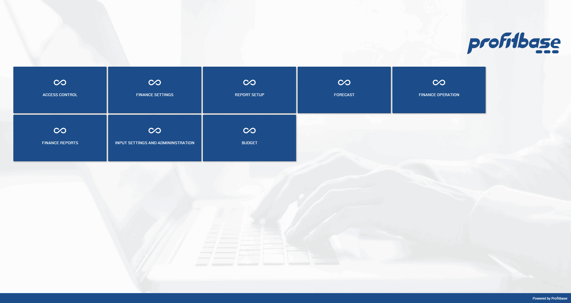 Profitbase InVision starting menu