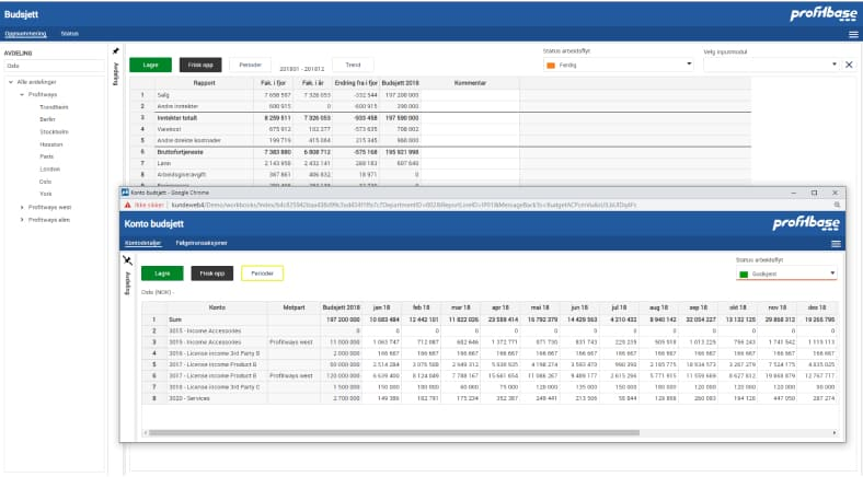 Profitbase Planning solution showing budget and account budget