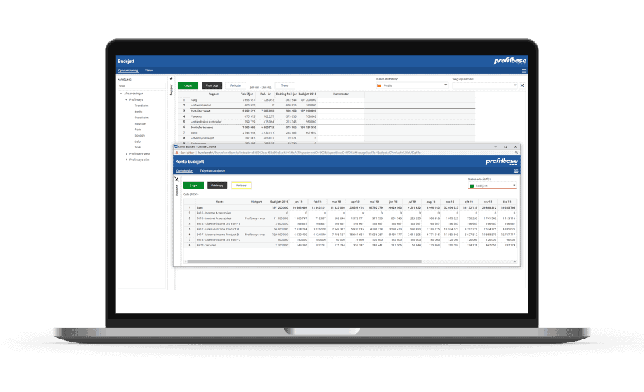 Profitbase Budgeting Solution Report on a Laptop