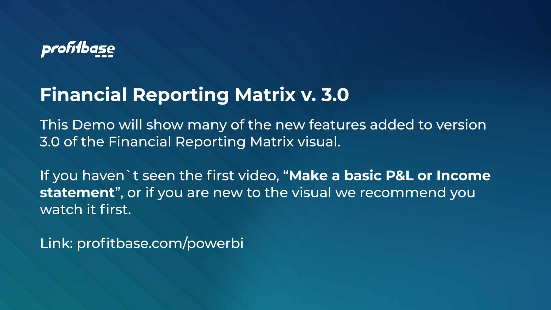 Financial Reporting Matrix - new features
